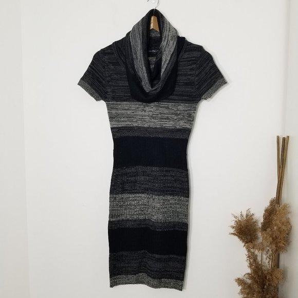INC   Striped Cowl Neck Knit Sweater Dress Small